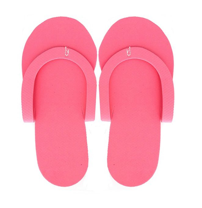 Eva Disposable Slippers Pink, 12 pairs/pack